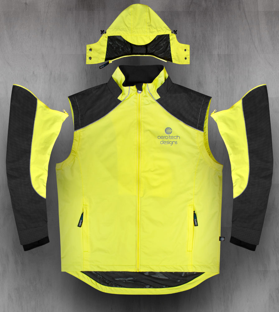 Aero Reflect Cycling Jacket Removable Sleeves and Hood