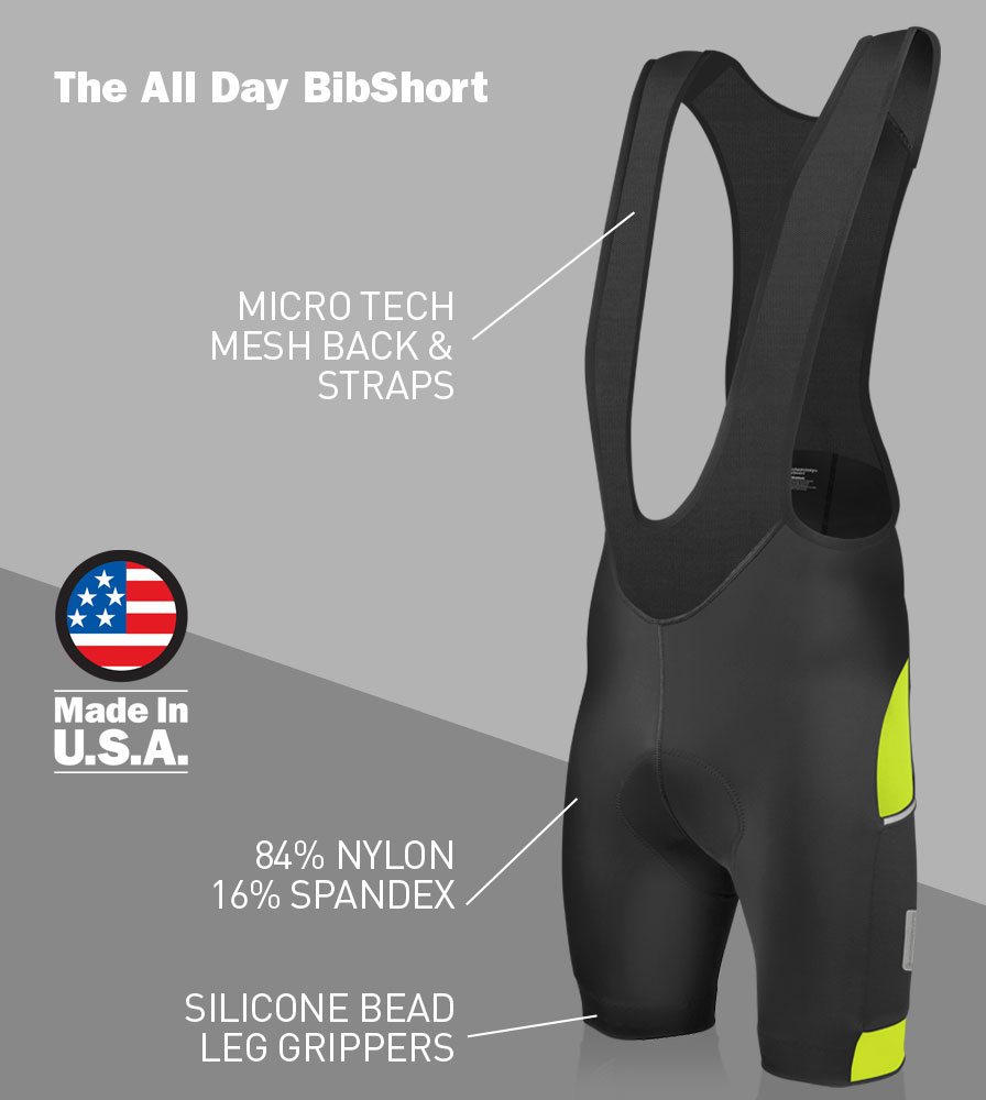 Men's All Day Cycling Bib-Short Front Features