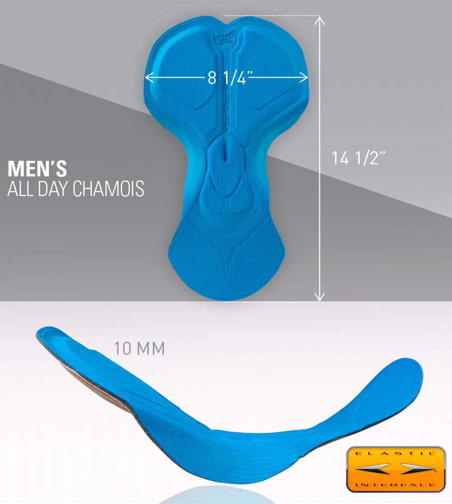 Men's All Day Cycling Chamois Pad Measurements