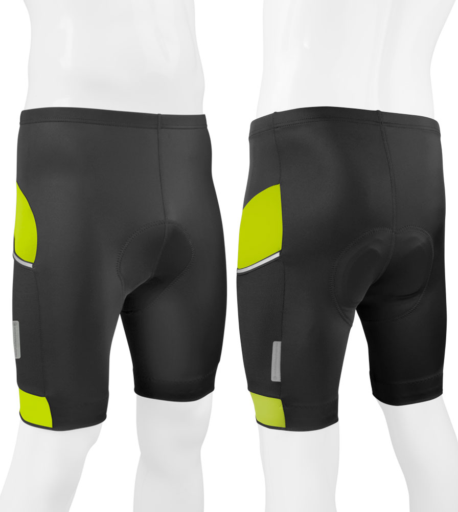 All Day Cycling Short in Safety Yellow Front and Back View