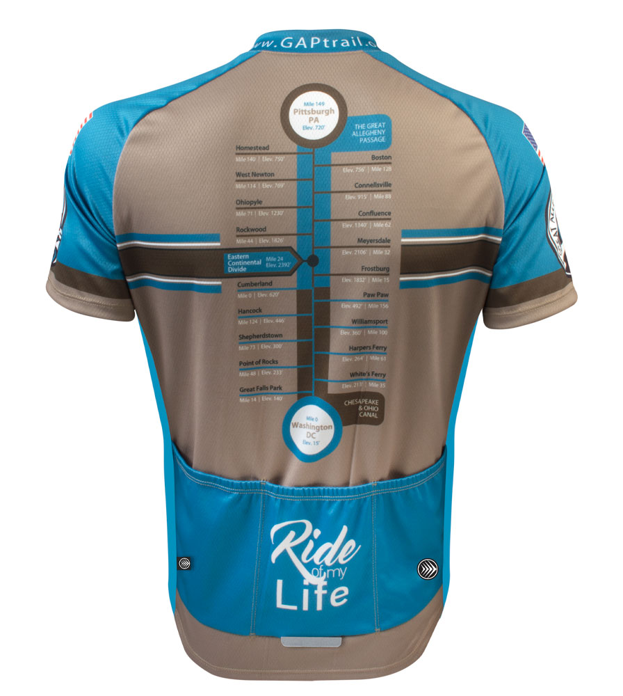 Greater Allegheny Passage Teal Stripe Jersey Back