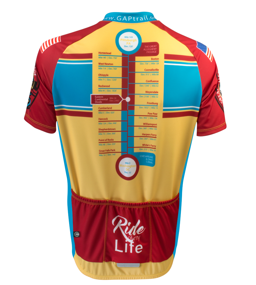 Red and Yellow Stripe Greater Allegheny Passage Cycling Jersey Back