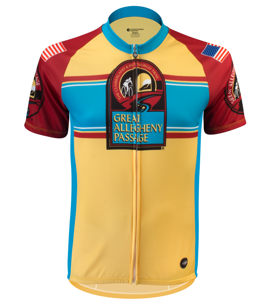 Red and Yellow Stripe Greater Allegheny Passage Cycling Jersey