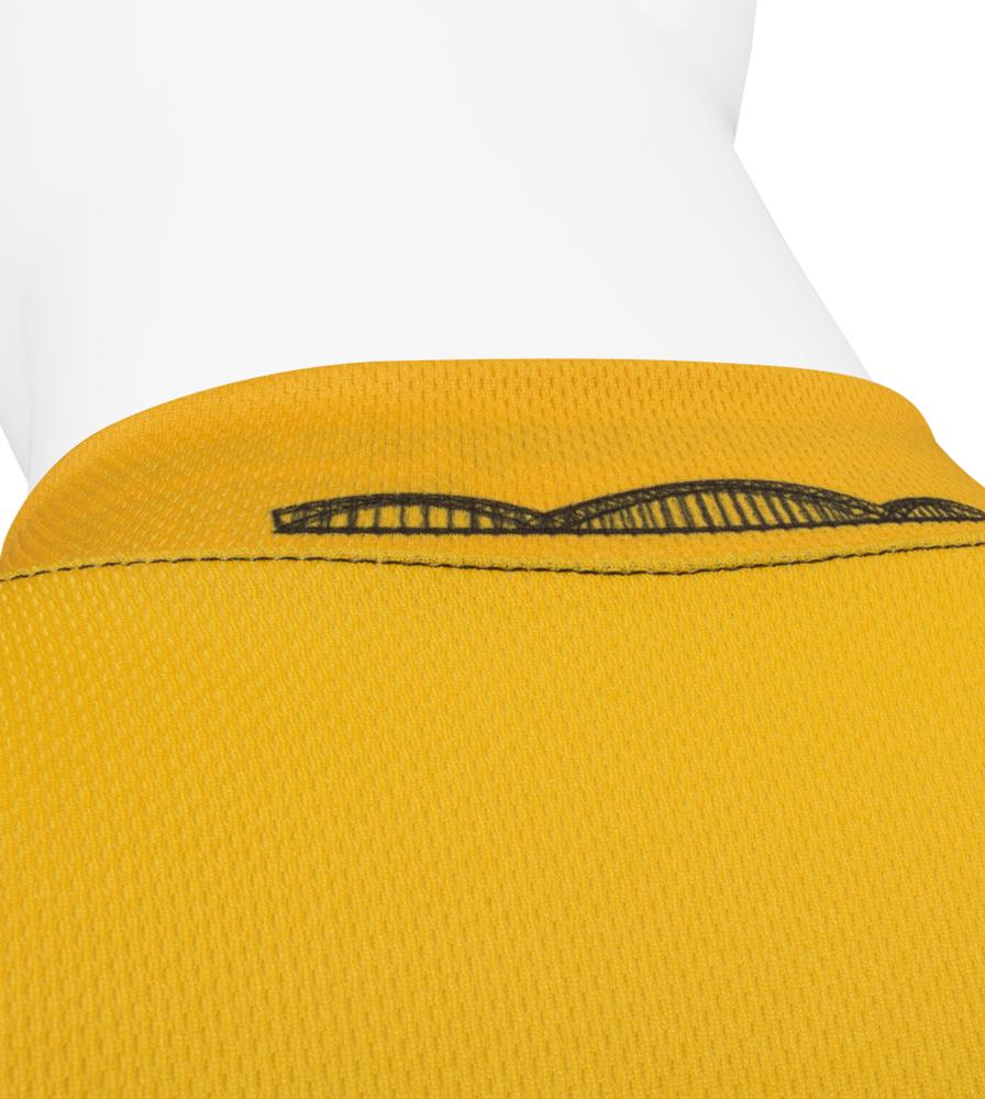 Pittsburgh Themed Bike Jersey Back Collar Bridge Detail