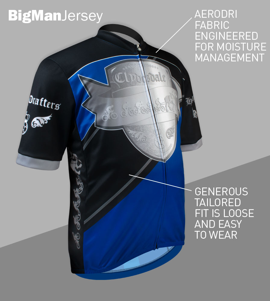 Big Men's Clydesdale Bike Jersey Front Features
