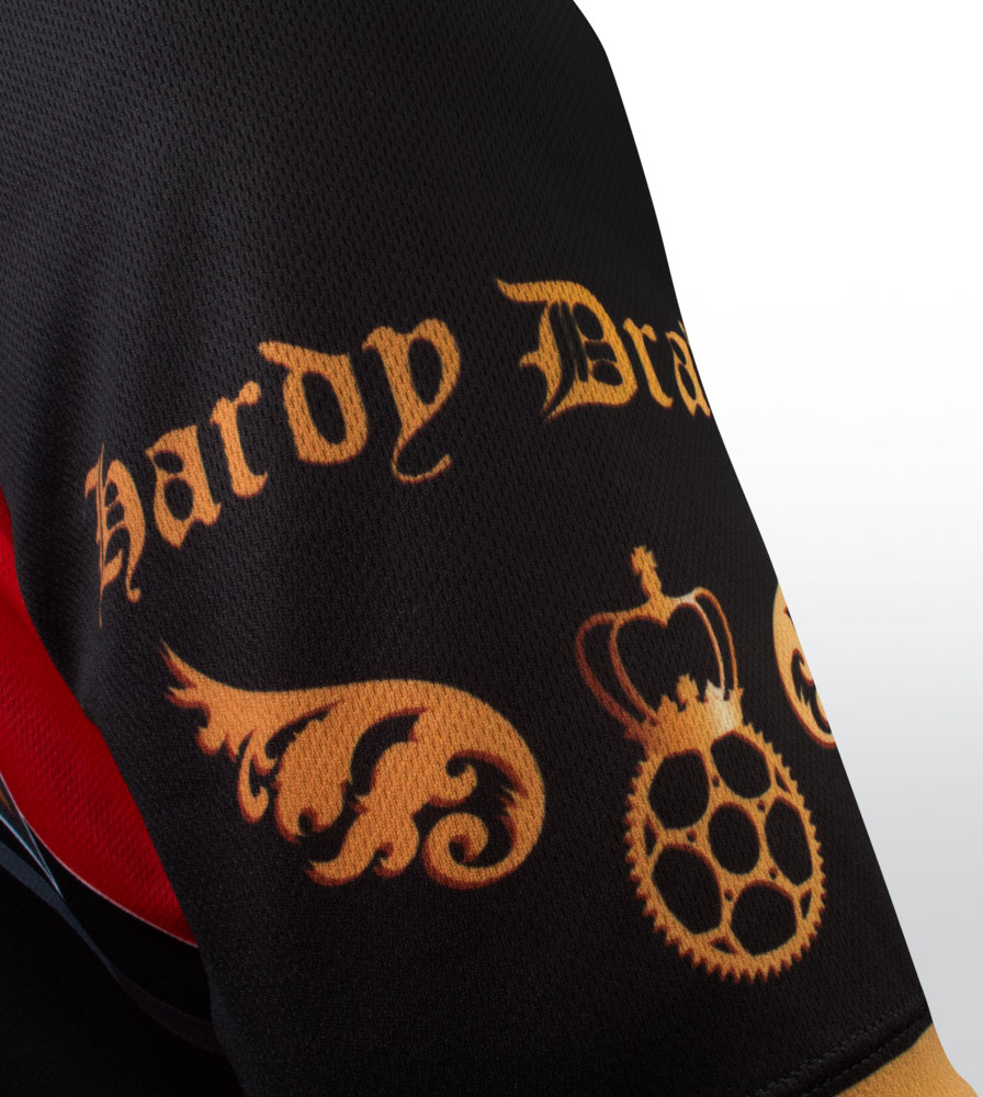 Red Big Men's Clydesdale Bike Jersey Sleeve Detail