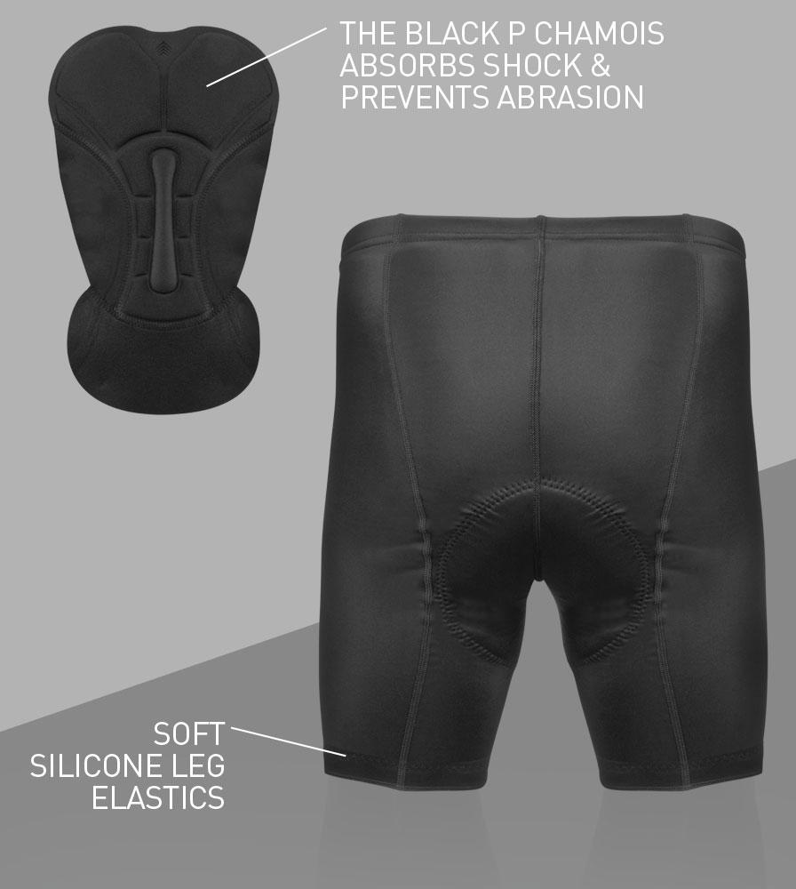 Men's Black P Petite Padded Bike Shorts Back Features
