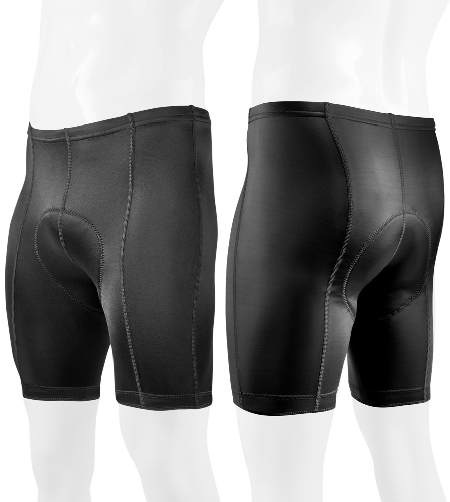Black P Petite Bike Shorts for Men Front and Back View
