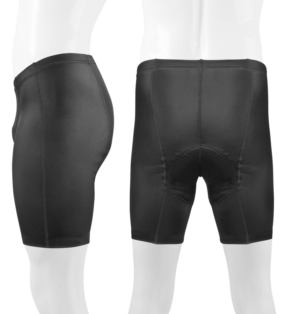 Black P Petite Bike Shorts for Men Side and Back View