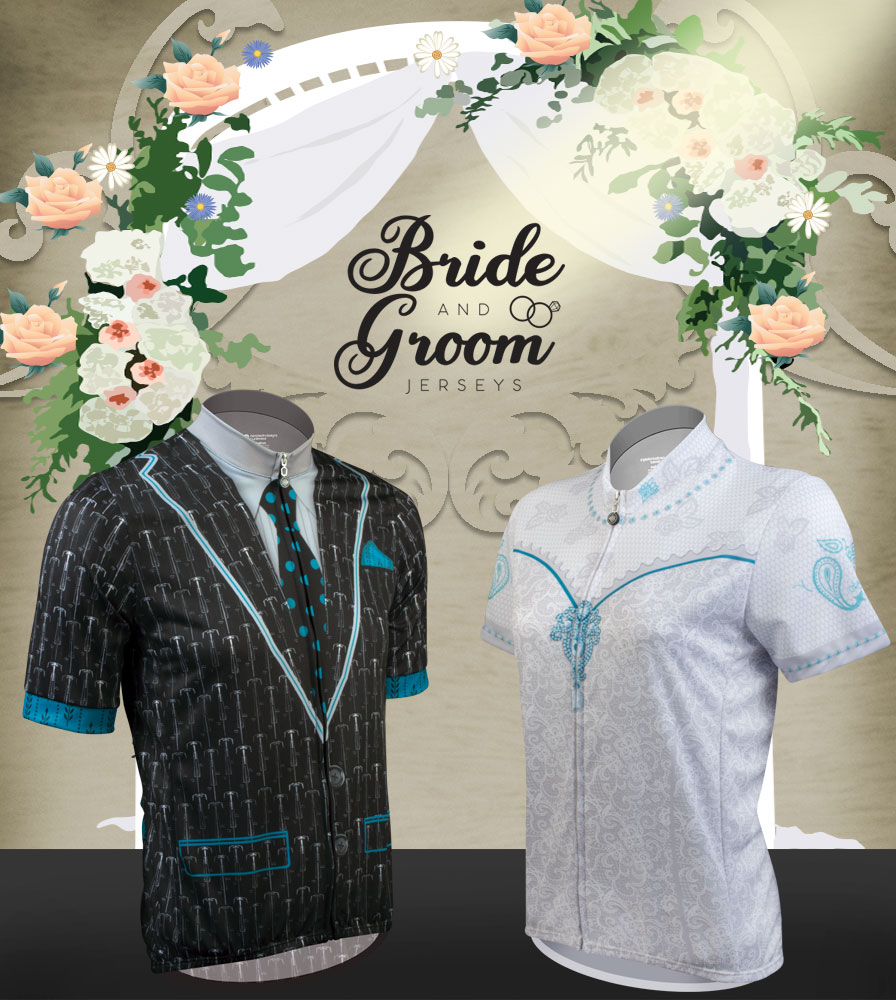 bride and groom for bicycle riding - jerseys and shorts