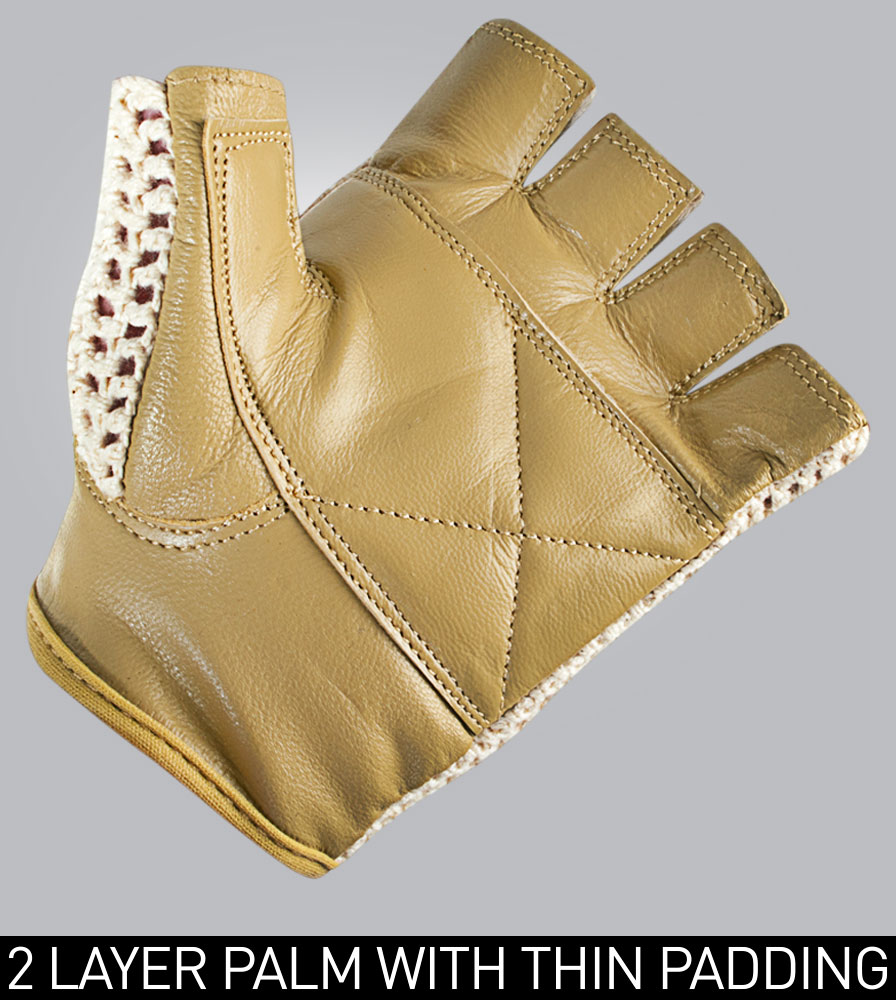 Crochet Cycling Glove with Double Layered Genuine Goatskin Leather