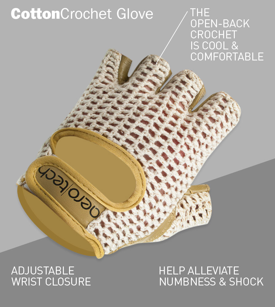Cotton Crotchet Glove with Adjustable Wrist Closures and Numbness and Shock Prevention