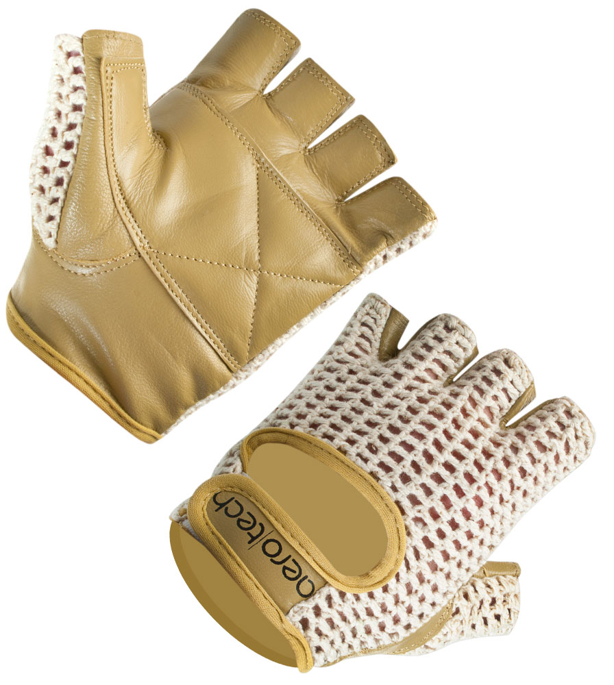 Cotton Crotchet Cycling Glove with Adjustable Wrist Closures and Double Layered Genuine Goatskin Leather helps Avoid Blisters, Numbness, and Prevents Shock
