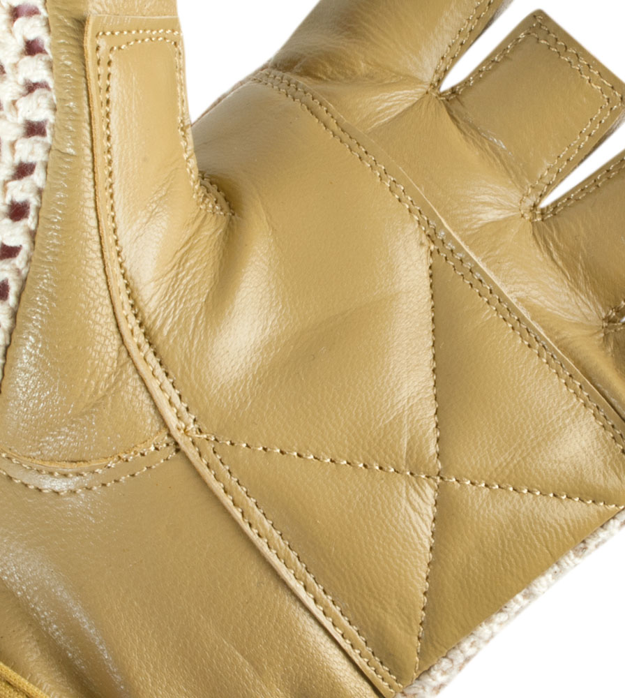 Aero Tech Natural Cotton and Crochet Leather Cycling Glove Palm Close-up