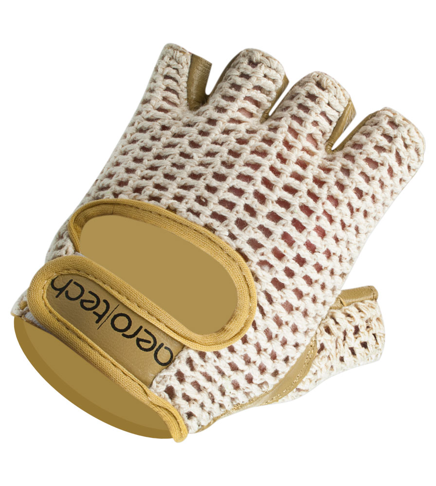 Aero Tech Natural Cotton and Crochet Leather Cycling Glove Top Detail