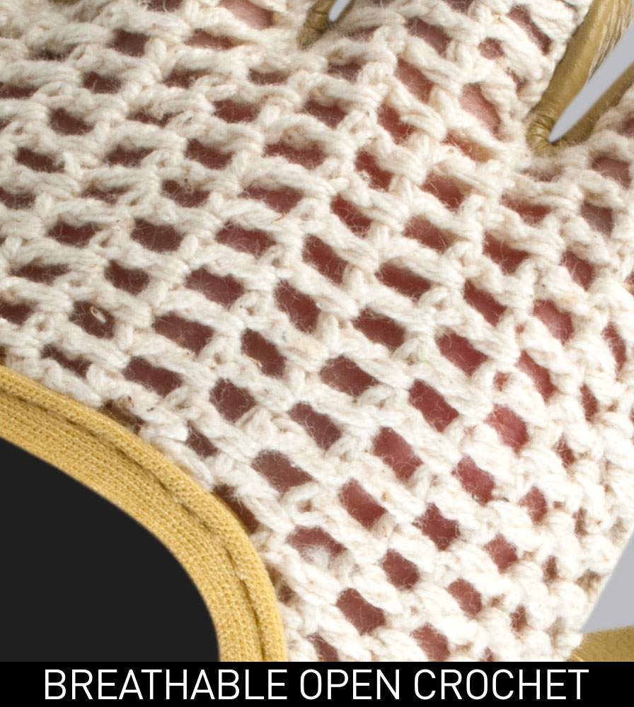 Breathable Cotton Crotchet Fabric on the Gel Padded Cotton and Leather Crotchet Cycling Gloves