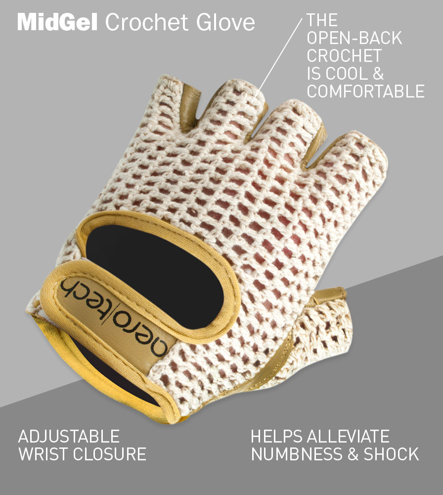 Gel Padded Crochet Cycling Gloves Front Features