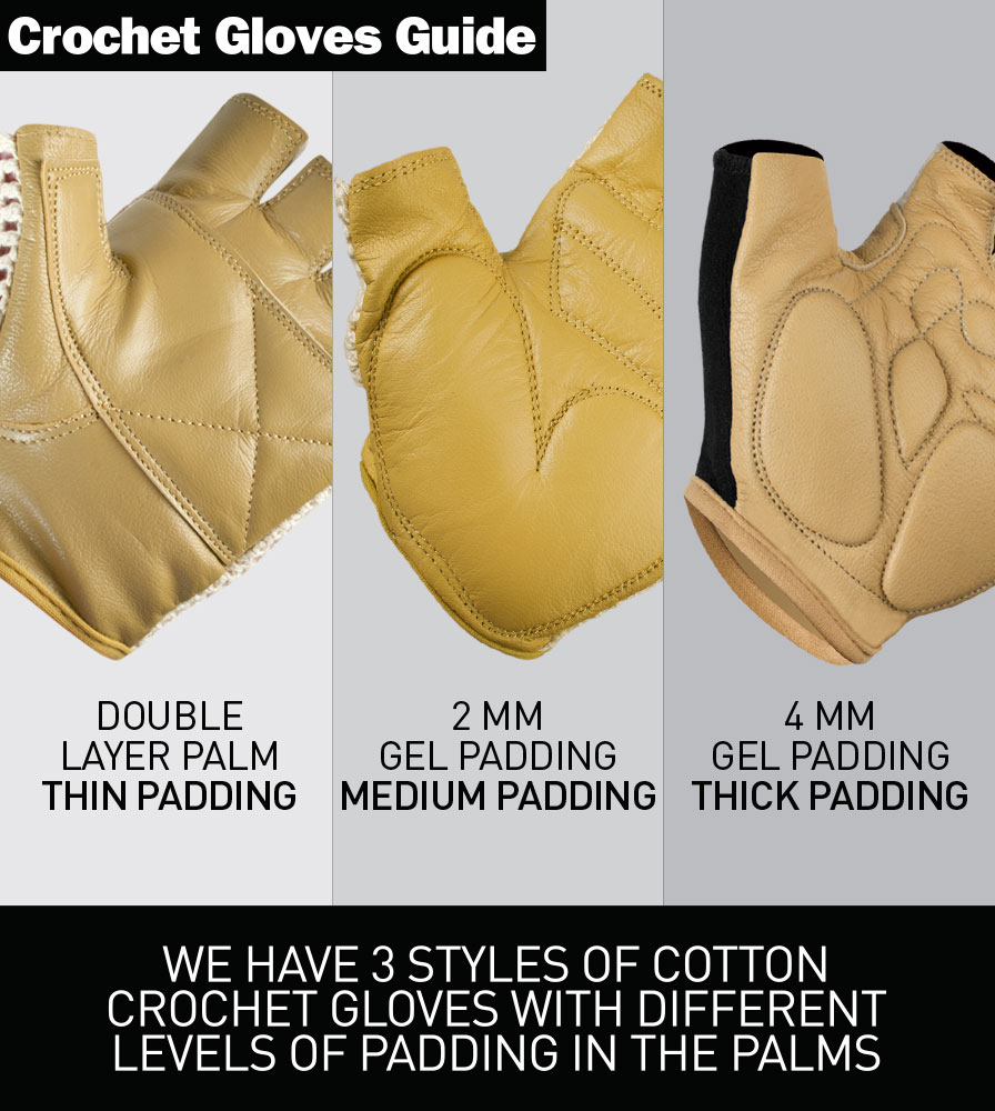 Crotchet Glove Padding Guide with Different Levels of Protective Padding