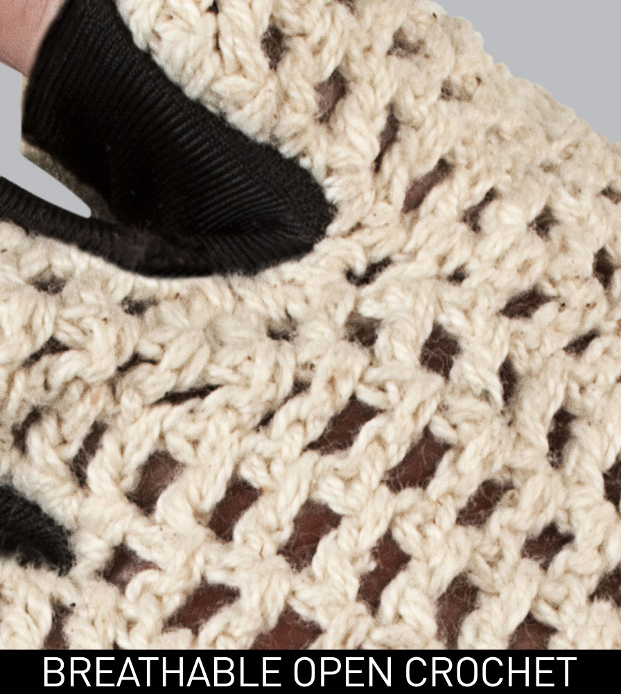 Breathable Cotton Crotchet Close-up on the Extra Gel Padded Crotchet Cycling Gloves