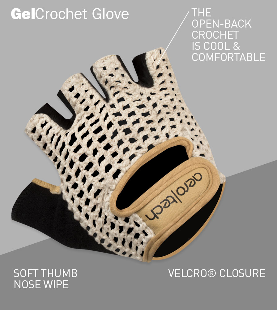 Extra Gel Padded Crotchet Cycling Gloves Front Features