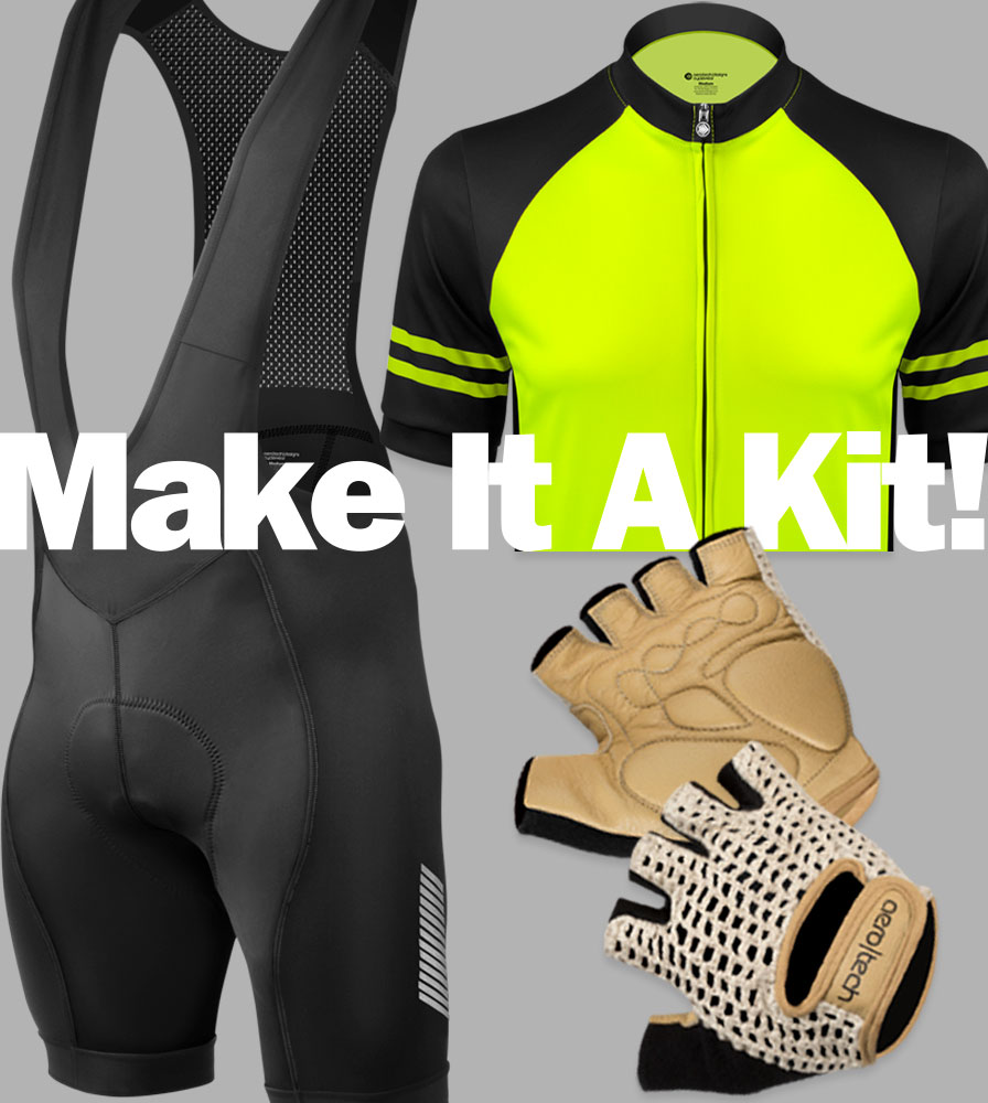 Cycling kit with jersey and matching bike shorts