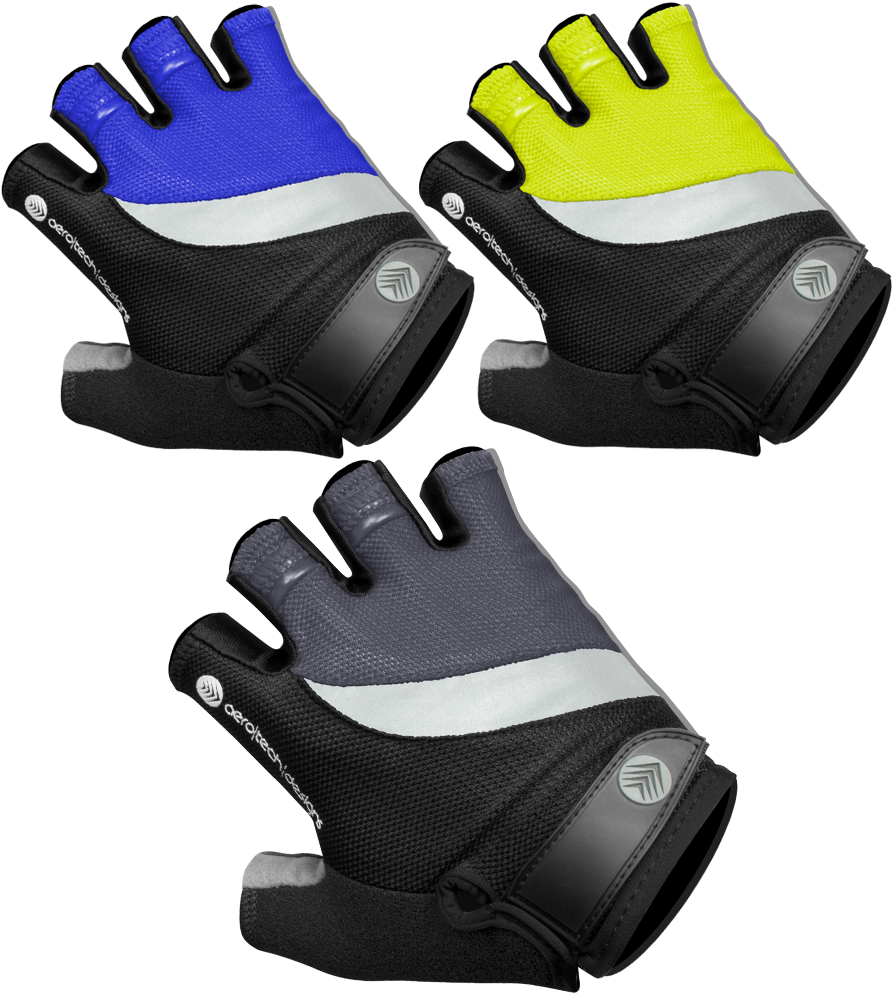 Lightweight Reflective Cycling Glove Safety Yellow, Royal Blue, and Charcoal Color Options