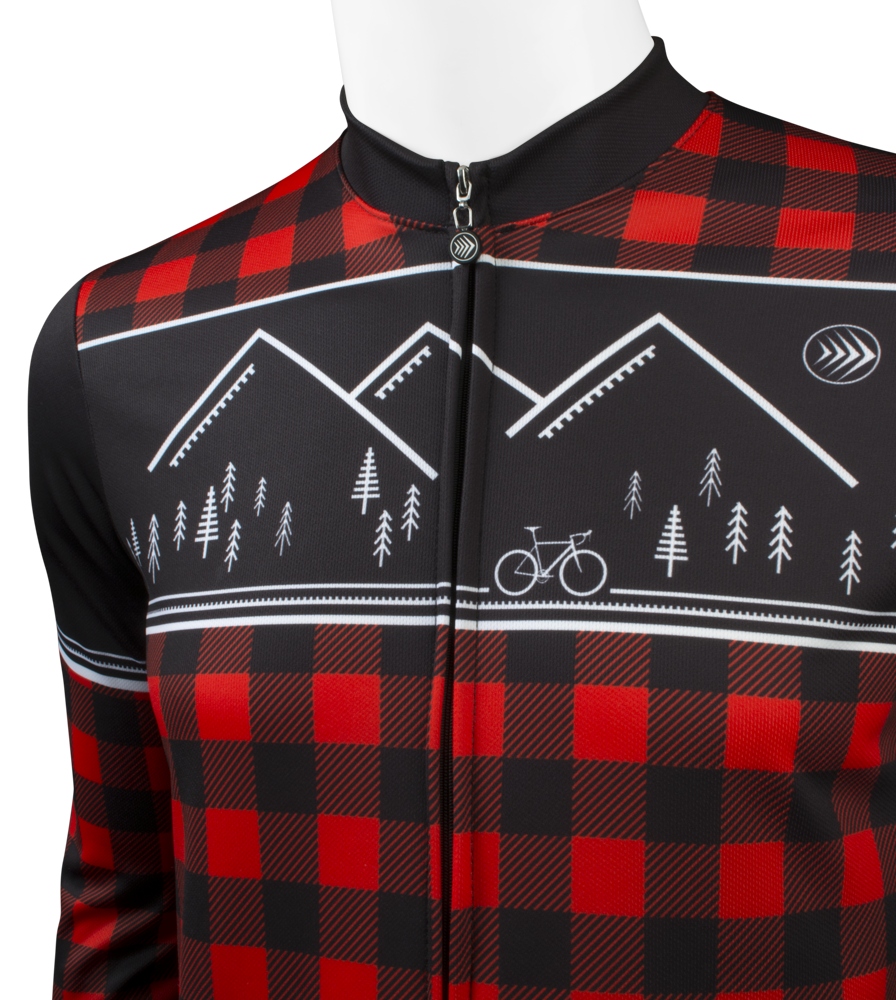 Men's Long Sleeve Red Lumberjack Jersey Front Graphic Detail