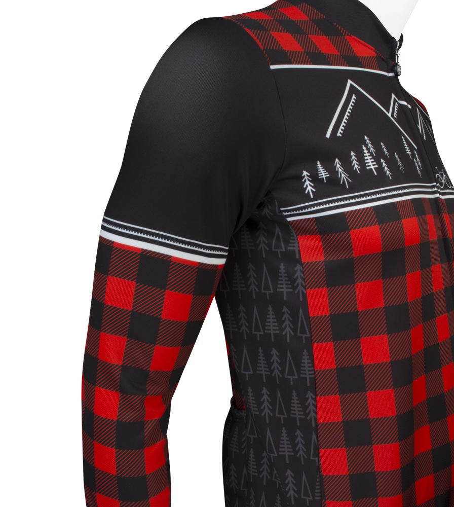 Men's Long Sleeve Red Lumberjack Jersey Side Panel and Sleeve Detail