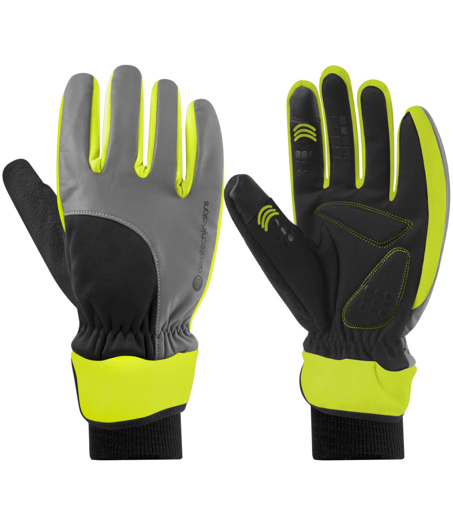 Safety Yellow Full Finger Winter Cycling Glove