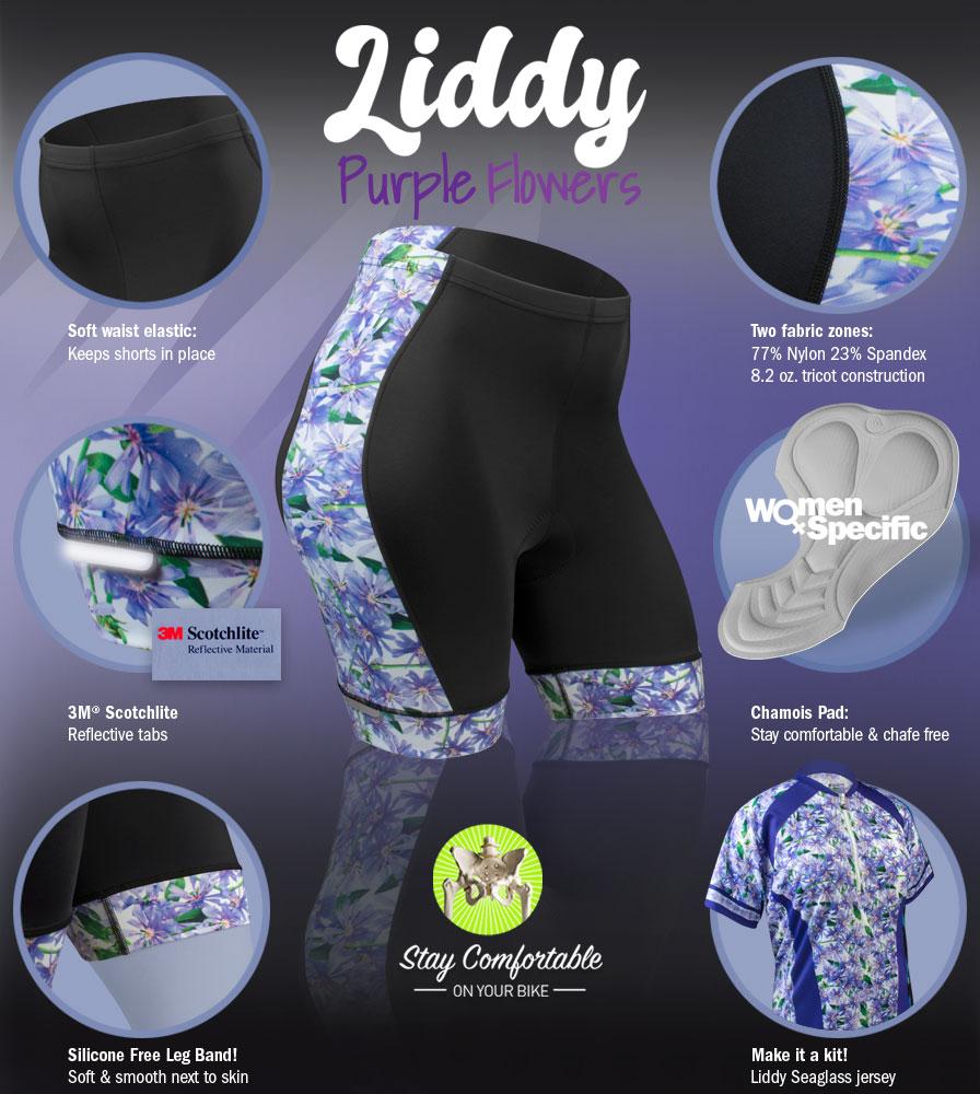 liddy-pluswomens-paddedcyclingshorts-purpleflower-features.jpg