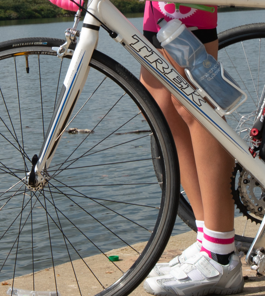 Pink Coolmax Cycling Sock in Action