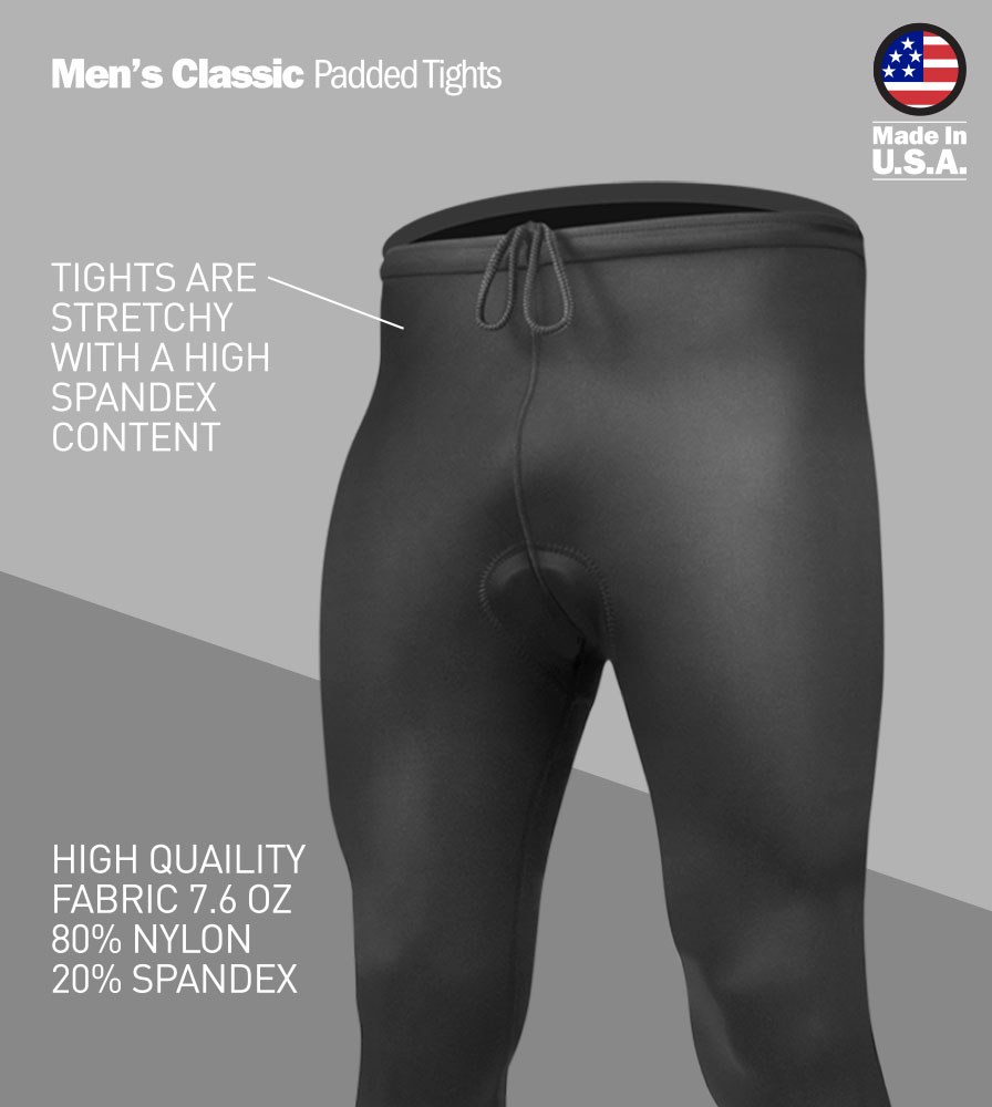 Men's USA Classic Padded Black Bike Tight Front Features