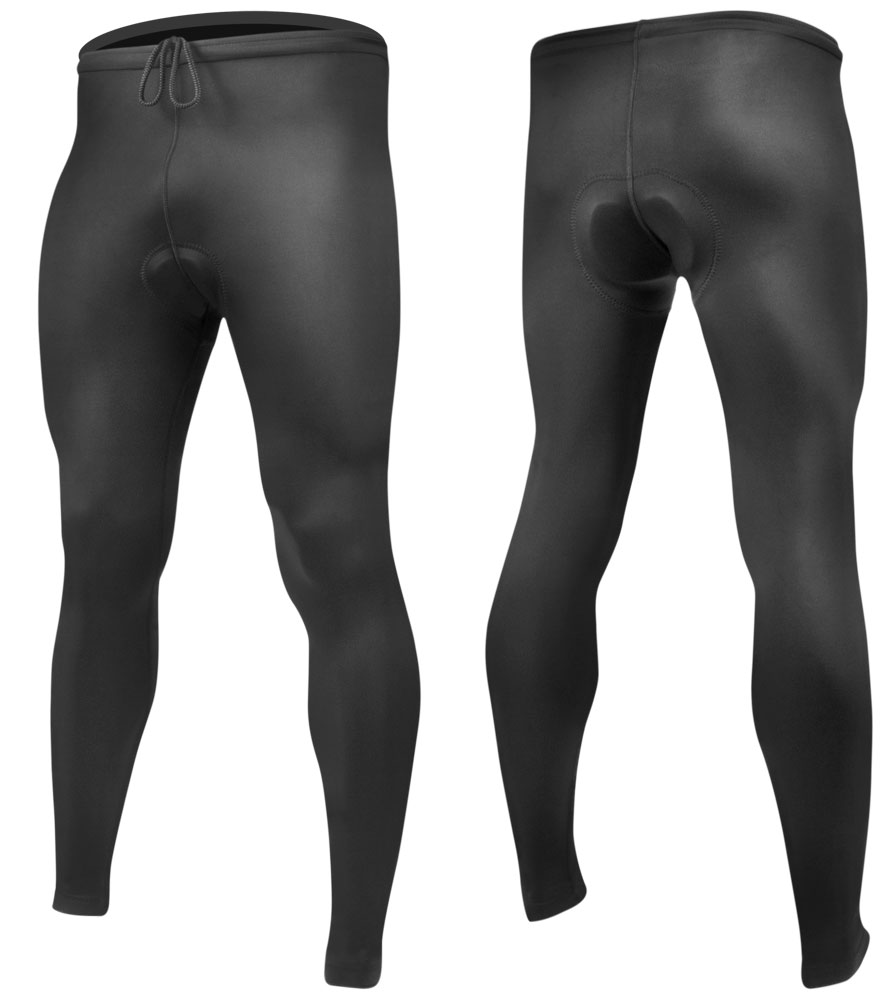 Men's USA Classic Black Padded Cycling Tights Front and Back View