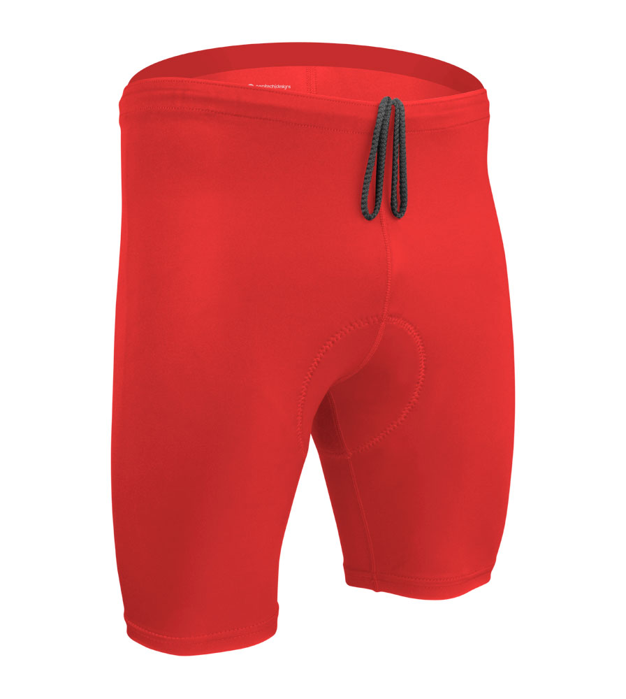 Men's Red Triathlon Padded Shorts Front View