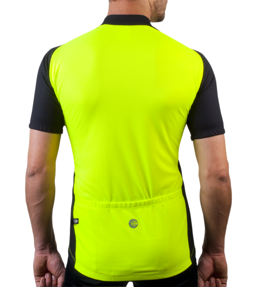 Men's Safety Yellow Club Bike Jersey Back View