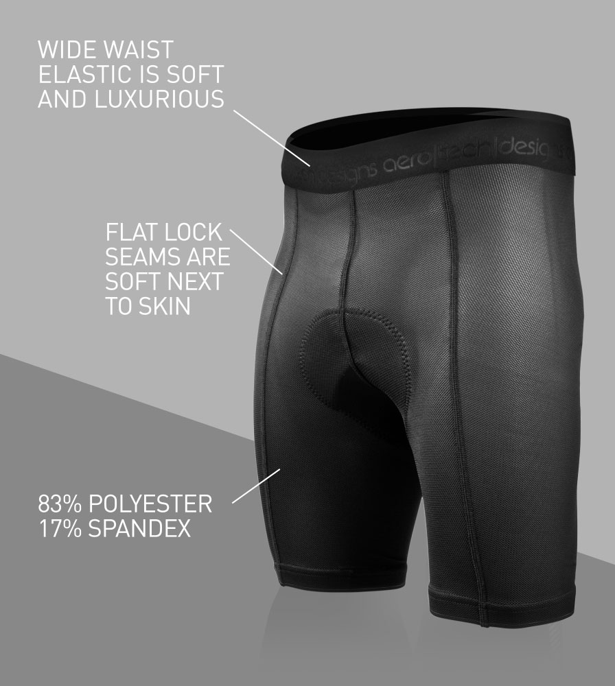 Men's Elite Padded Cycling Liner Shorts Front Features