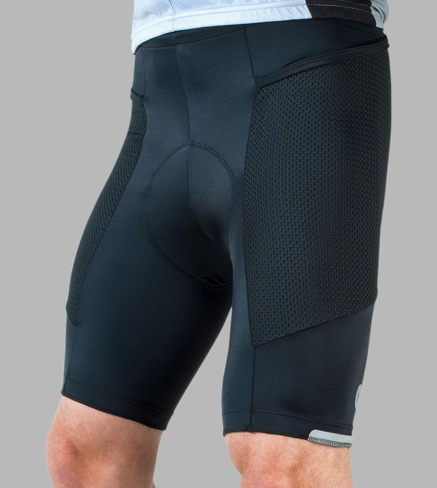 Men's Gel Touring Black Cycling Short Front Model View