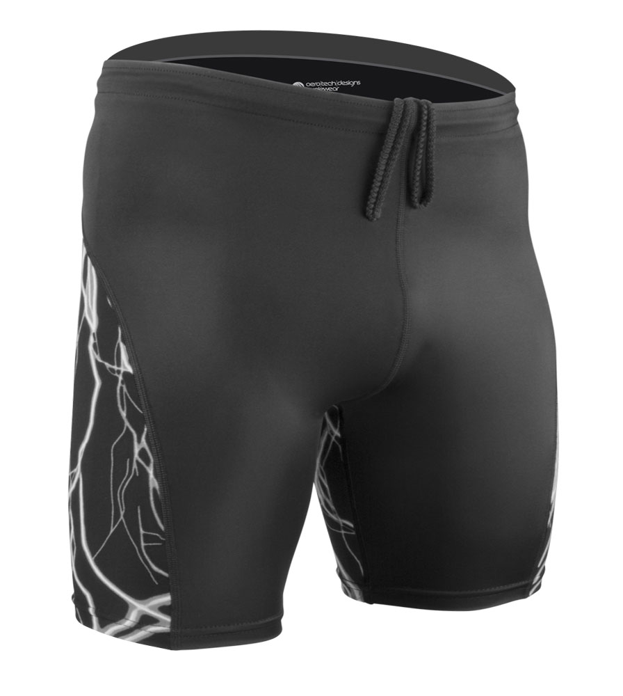 Men's High Performance Compression Shorts in Black Lightning Front View