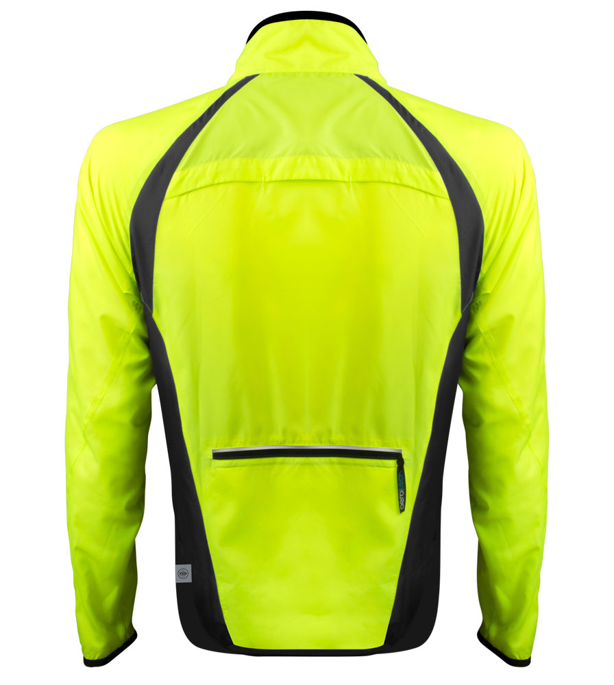 Safety Yellow Packable Cycling Jacket Back View