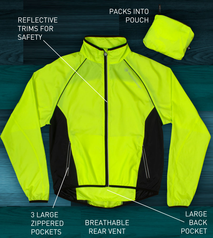 Features on the Packable Hi-vis Windproof Cycling  Jacket