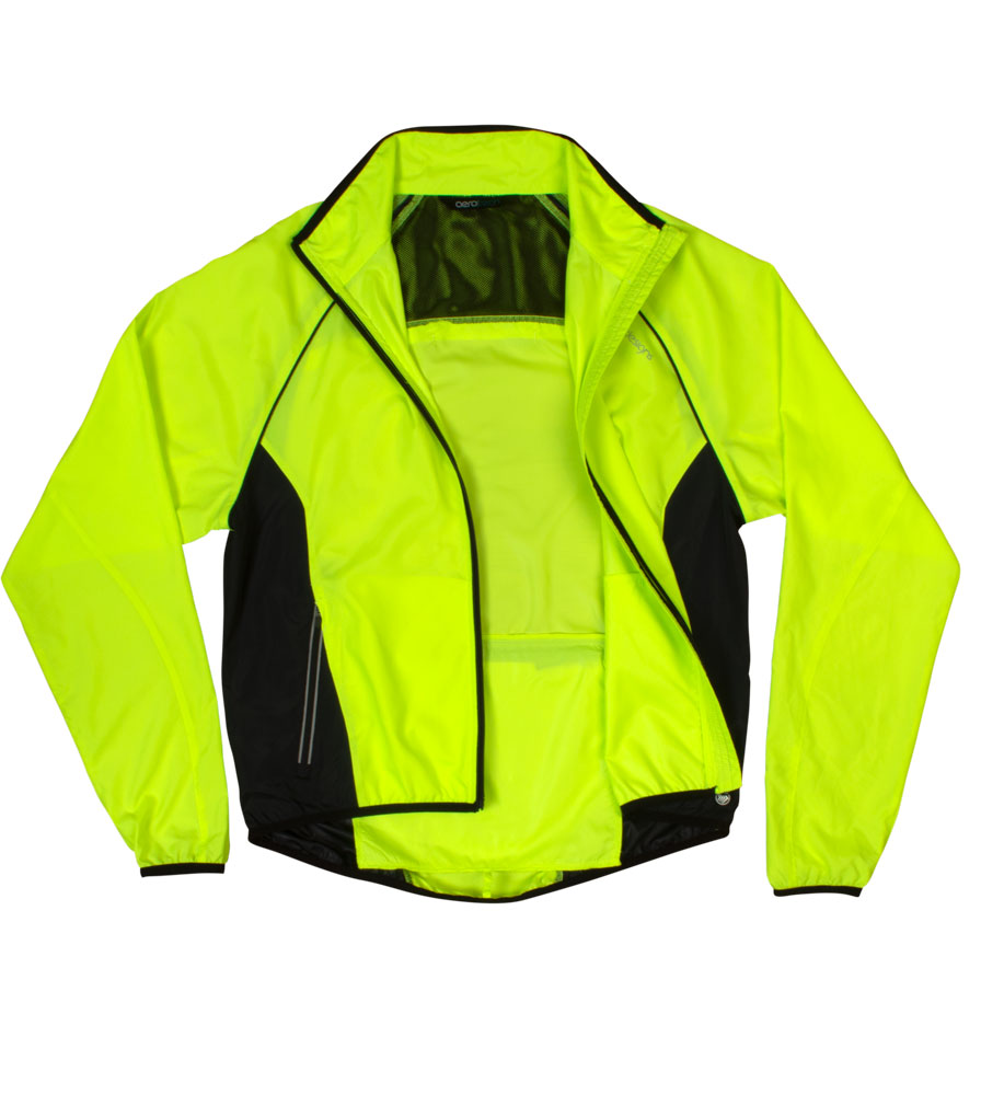 Inside View of the Men's Windproof Packable Safety Yellow Cycling Jacket