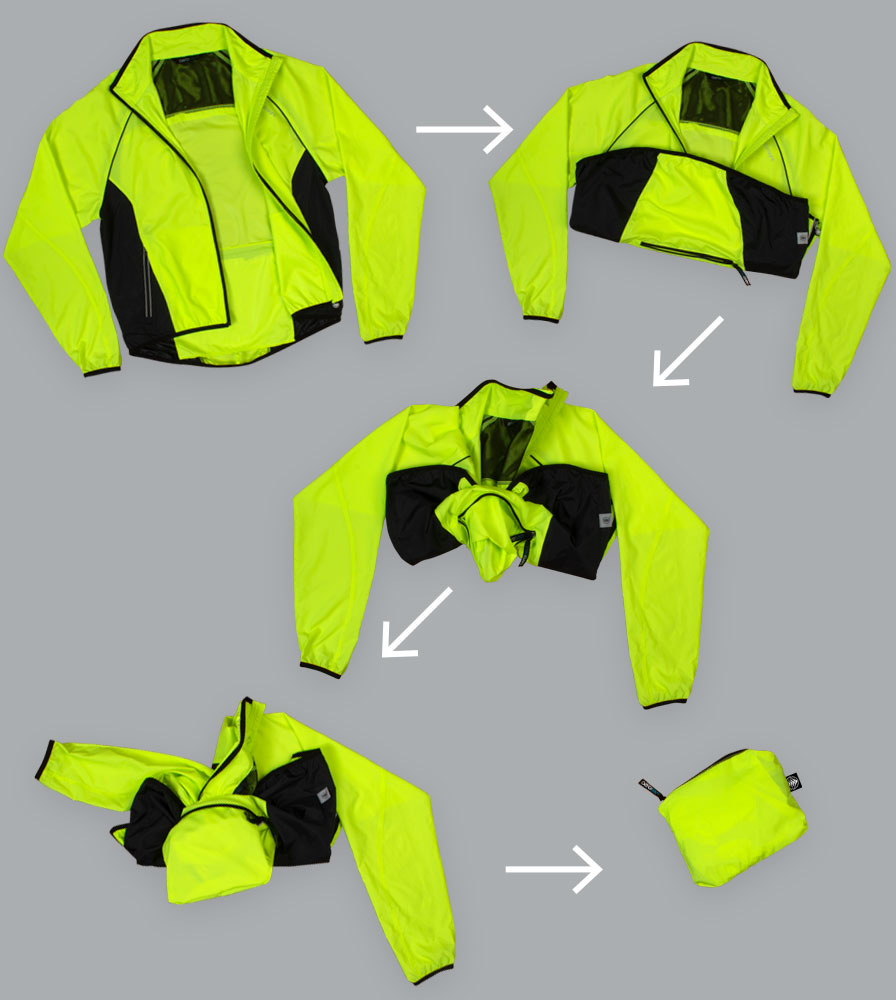 The Windproof Packable Cycling Jacket Easily Packs into a Portable Pouch