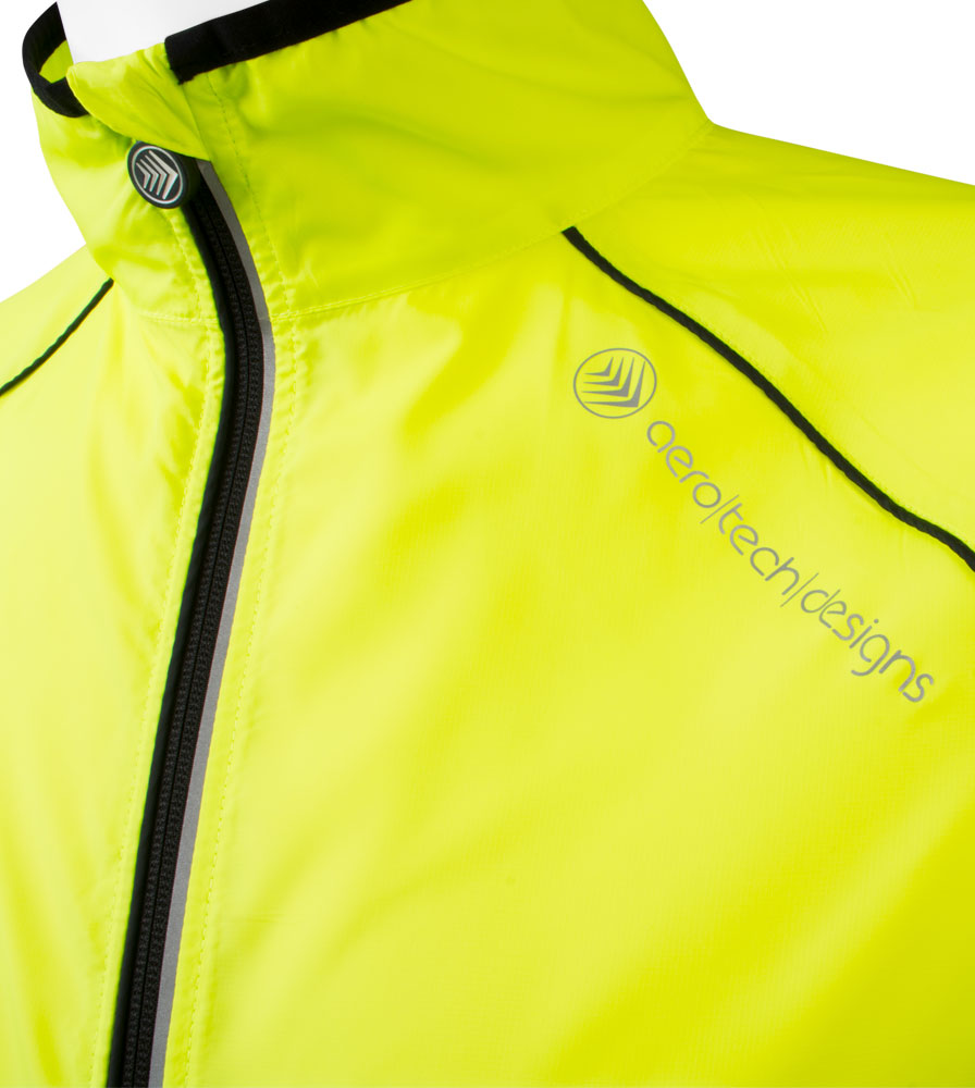 The Zipper and Reflective Shoulder Logo Detail on the Men's Packable Safety Yellow Cycling Jacket