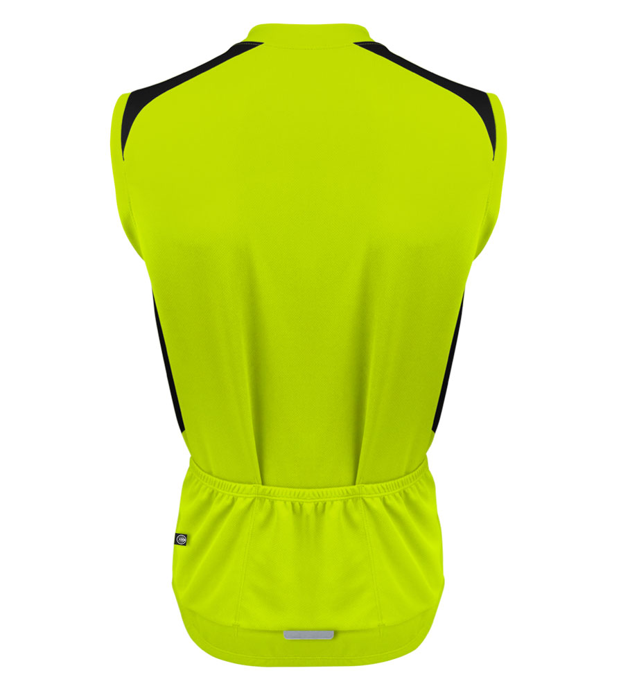 Men's Pro Sleeveless Cycling Jersey Safety Yellow Back