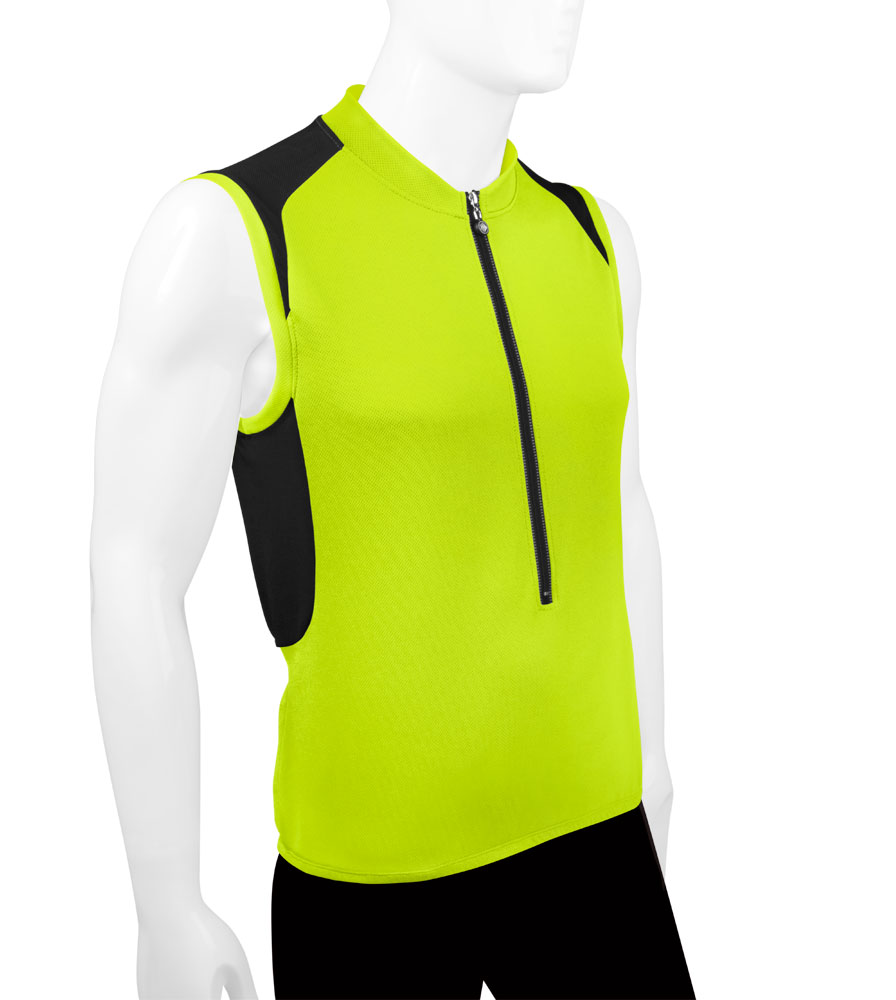 Men's Pro Sleeveless Cycling Jersey Safety Yellow Off Front