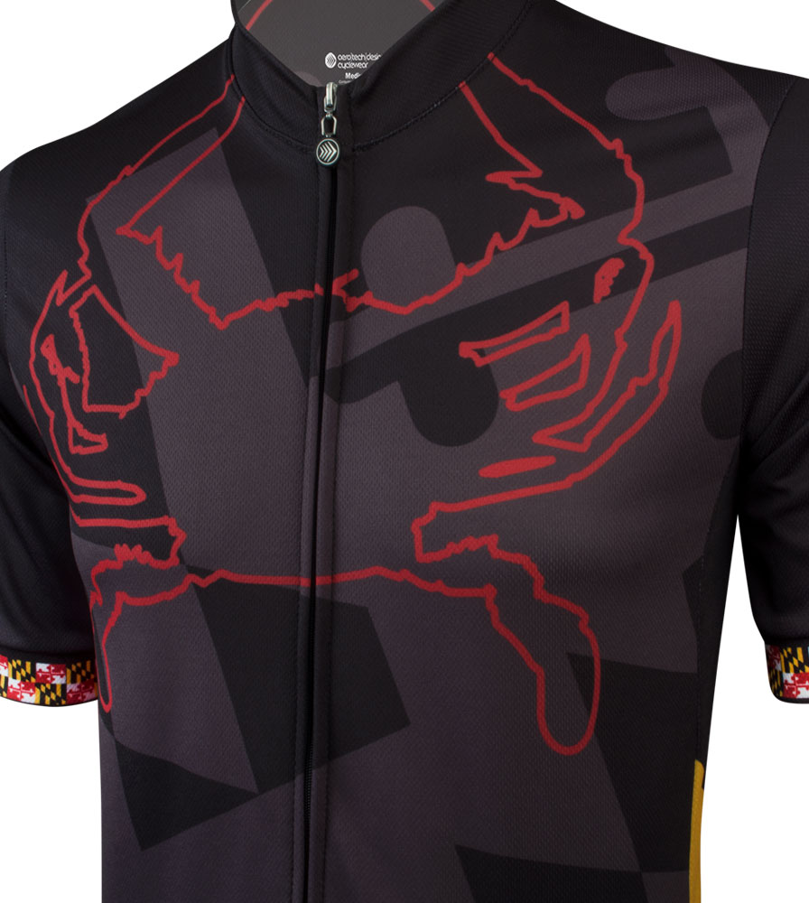 Maryland Cycling Jersey Top Front Logo Detail