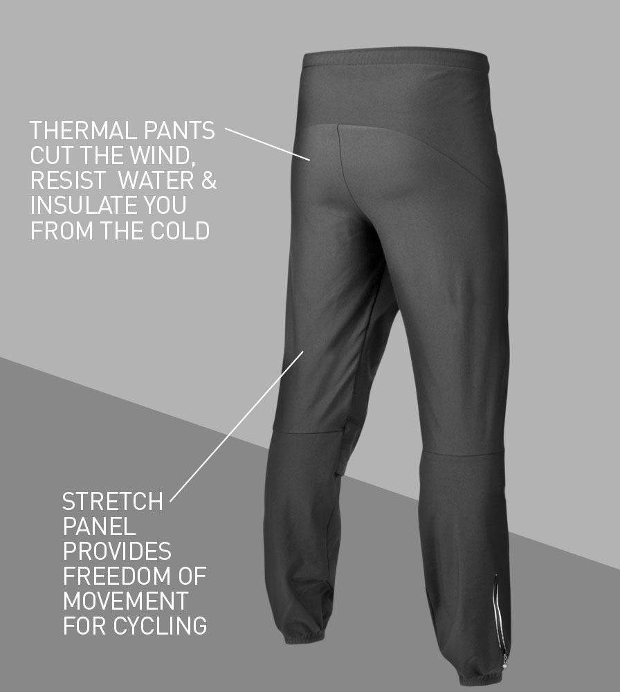 Men's Thermal Wind Proof Cycling Pants Back Features