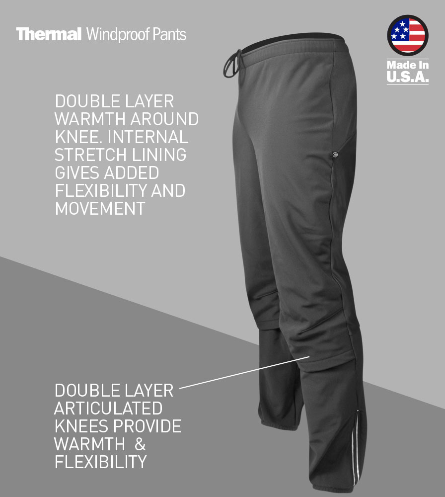 Men's Thermal Wind Proof Cycling Pants Front Features