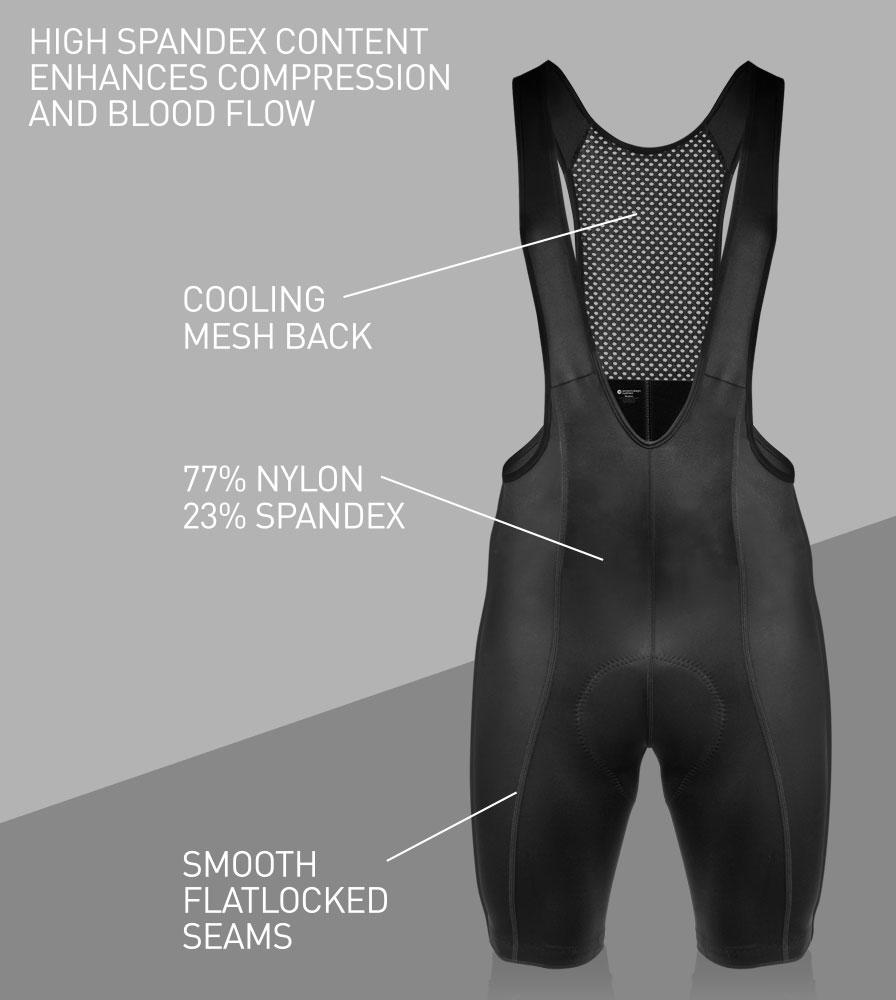 Men's Top Shelf Cycling Bib-Shorts Front Features