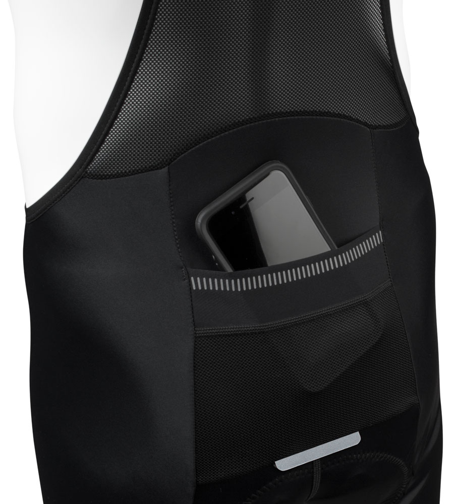 Men's Voyager Bib-Short Pocket can hold Cell Phones, Wallets, and Bike Gear
